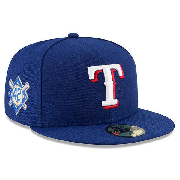お取り寄せ MLB レンジャーズ 2018 ジャッキー・ロビンソン・デイ 59FIFTY フィッテッド キャップ/帽子 ニューエラ/New Era ブルー