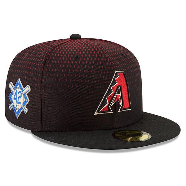 お取り寄せ MLB ダイヤモンドバックス 2018 ジャッキー・ロビンソン・デイ 59FIFTY フィッテッド キャップ/帽子 ニューエラ/New Era ブラック