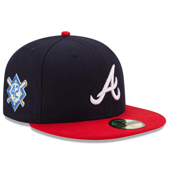 お取り寄せ MLB ブレーブス 2018 ジャッキー・ロビンソン・デイ 59FIFTY フィッテッド キャップ/帽子 ニューエラ/New Era ネイビー