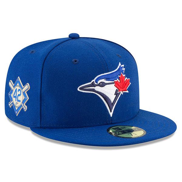 お取り寄せ MLB ブルージェイズ 2018 ジャッキー・ロビンソン・デイ 59FIFTY フィッテッド キャップ/帽子 ニューエラ/New Era ブルー