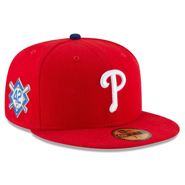 お取り寄せ MLB フィリーズ 2018 ジャッキー・ロビンソン・デイ 59FIFTY フィッテッド キャップ/帽子 ニューエラ/New Era レッド