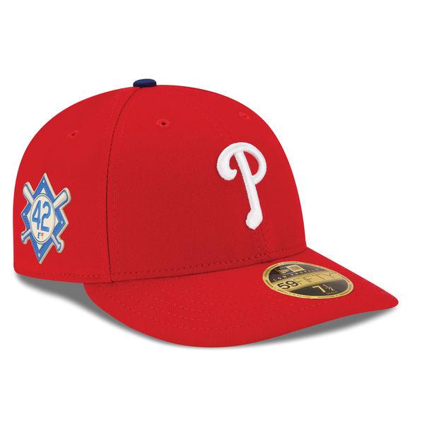 お取り寄せ MLB フィリーズ 2018 ジャッキー・ロビンソン・デイ ロープロファイル 59FIFTY フィッテッド キャップ/帽子 ニューエラ/New Era レッド