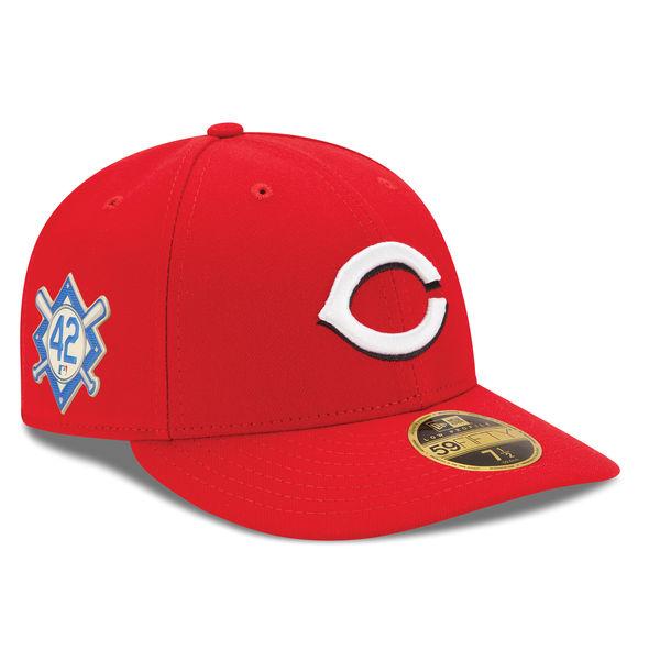 お取り寄せ MLB レッズ 2018 ジャッキー・ロビンソン・デイ ロープロファイル 59FIFTY フィッテッド キャップ/帽子 ニューエラ/New Era レッド