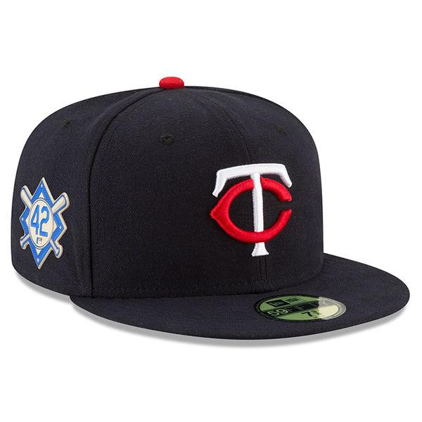 お取り寄せ MLB ツインズ 2018 ジャッキー・ロビンソン・デイ 59FIFTY フィッテッド キャップ/帽子 ニューエラ/New Era ネイビー
