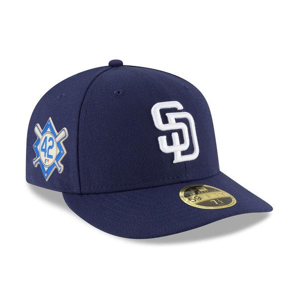 お取り寄せ MLB パドレス 2018 ジャッキー・ロビンソン・デイ ロープロファイル 59FIFTY フィッテッド キャップ/帽子 ニューエラ/New Era ブルー