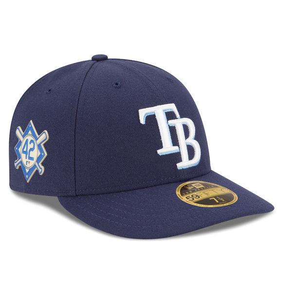 お取り寄せ MLB レイズ 2018 ジャッキー・ロビンソン・デイ ロープロファイル 59FIFTY フィッテッド キャップ/帽子 ニューエラ/New Era ネイビー