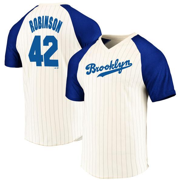 お取り寄せ MLB ドジャース ジャッキー・ロビンソン Tシャツ 半袖 ネーム & ナンバー クーパーズタウン ピンストライプ マジェスティック/Majestic クリーム