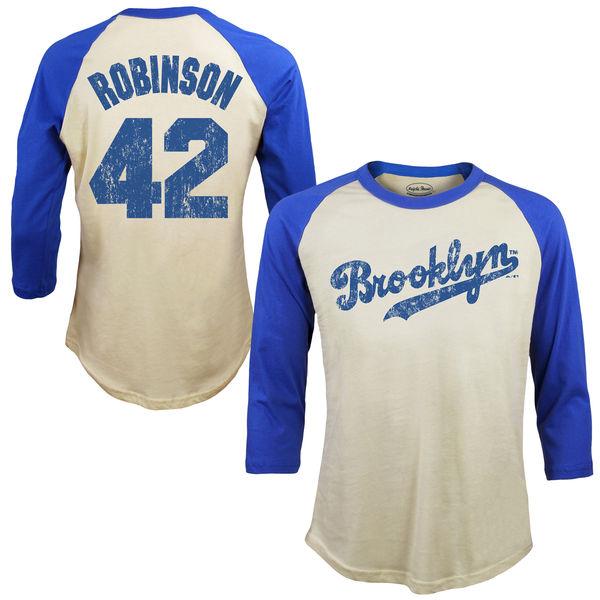 お取り寄せ MLB ドジャース ジャッキー・ロビンソン Tシャツ 3/4スリーブ ラグラン ネーム & ナンバー ソフトハンド マジェスティック/Majestic クリーム