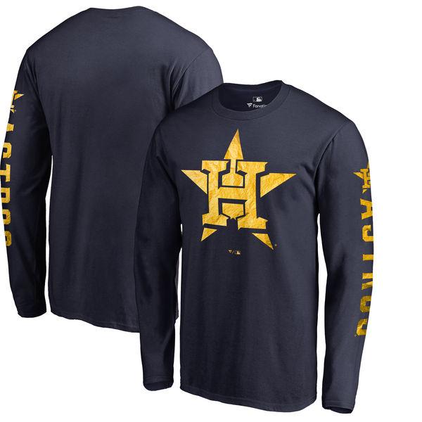 お取り寄せ MLB アストロズ 2018 ゴールドプログラム ロングTシャツ 24カラットロゴ
