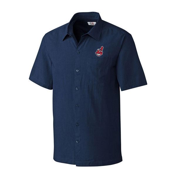 お取り寄せ MLB インディアンス ボタンシャツ チェック メンズ カッター&バック/Cutter & Buck