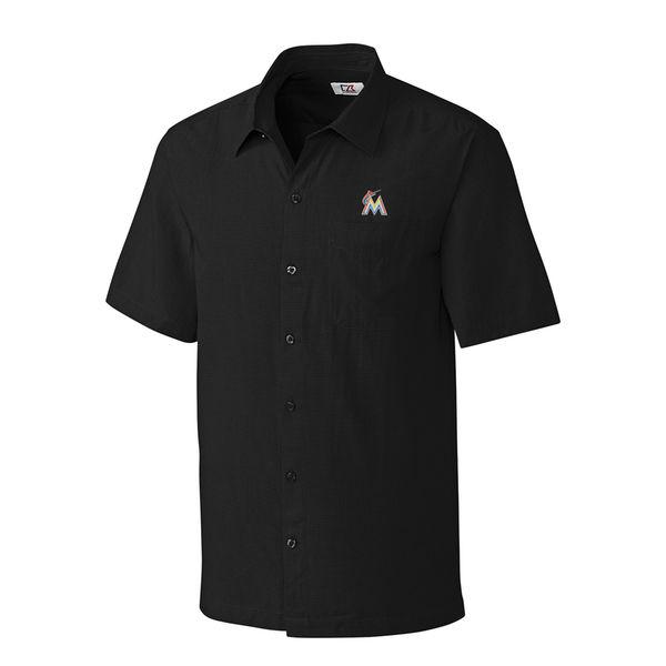 お取り寄せ MLB マーリンズ ボタンシャツ チェック メンズ カッター&バック/Cutter & Buck