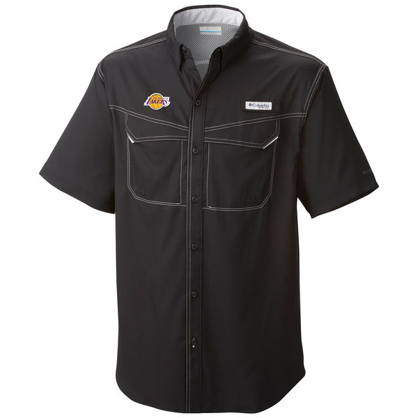 お取り寄せ NBA レイカーズ ボタン シャツ オムニシェード メンズ コロンビア/Columbia ブラック