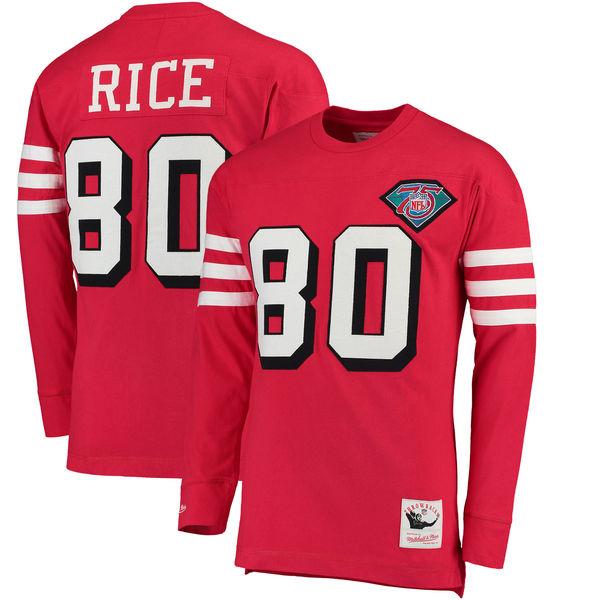お取り寄せ NFL 49ers ジェリー・ライス ロングTシャツ スローバック ネーム&ナンバー ミッチェル&ネス/Mitchell & Ness