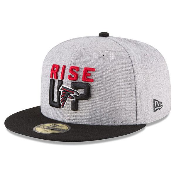 NFL ファルコンズ 59FIFTY フィッテッド キャップ/帽子 2018 ドラフト オンステージ ニューエラ/New Era ヘザーグレー