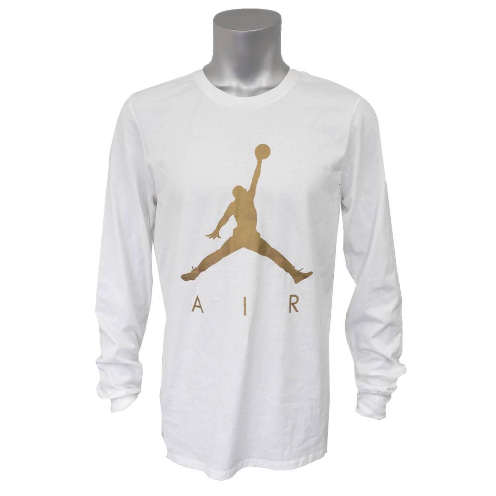 Nike Jordan  NIKE JORDAN jump man long T-shirt white   gold AJ3855-100 3647ba41546e