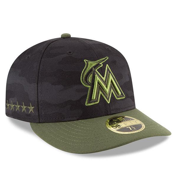 お取り寄せ MLB マーリンズ 59FIFTY フィッテッド キャップ/帽子 ロープロファイル 2018 メモリアルデー ニューエラ/New Era ブラック