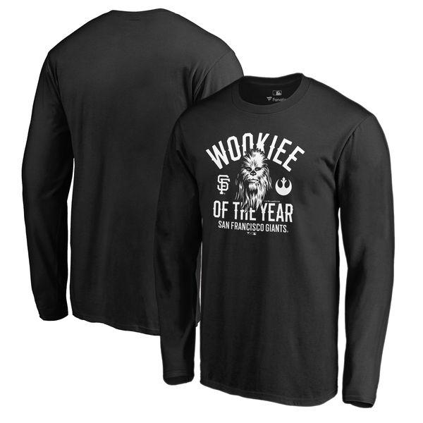 お取り寄せ MLB ジャイアンツ Tシャツ 長袖 ロングスリーブ スターウォーズ ウーキー チューバッカ ブラック