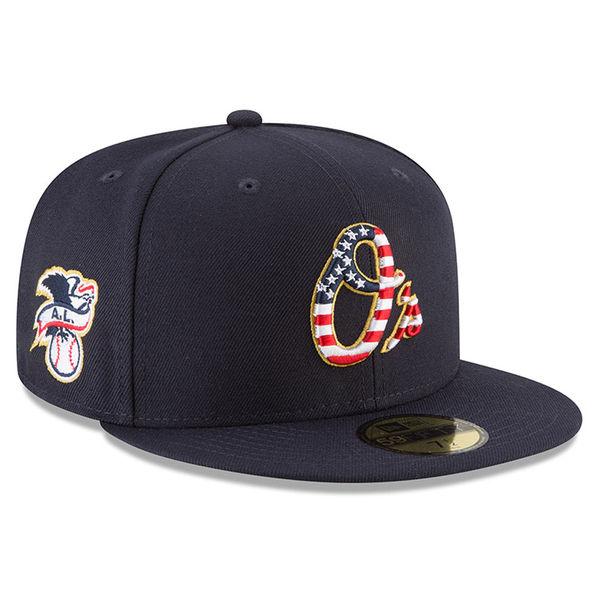 お取り寄せ MLB オリオールズ 選手着用 59FIFTY キャップ/帽子 2018 スターズ & ストライプス ニューエラ/New Era ネイビー