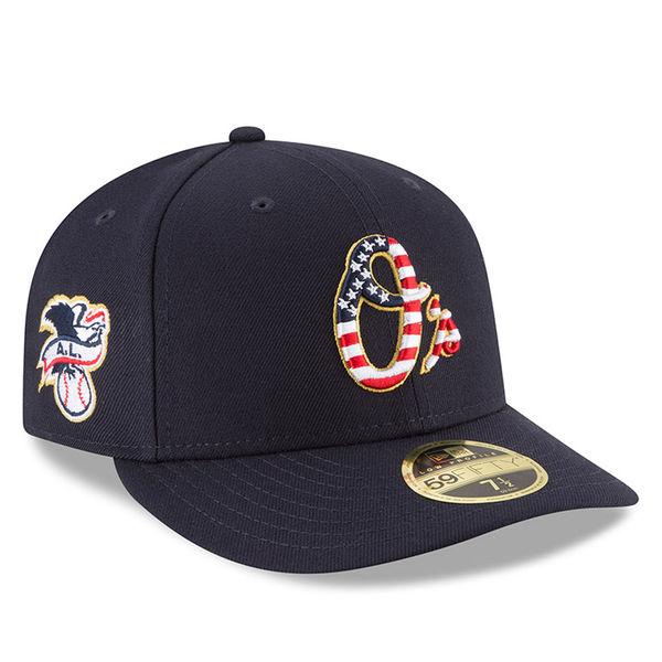 お取り寄せ MLB オリオールズ 59FIFTY キャップ ロー プロファイル 2018 スターズ & ストライプス ニューエラ/New Era ネイビー