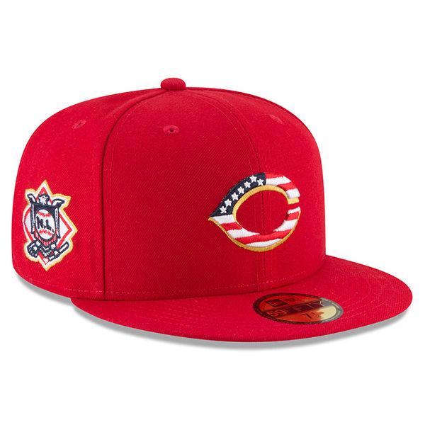 お取り寄せ MLB レッズ 選手着用 59FIFTY キャップ/帽子 2018 スターズ & ストライプス ニューエラ/New Era レッド
