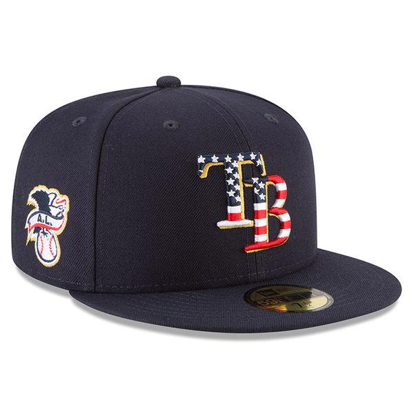 お取り寄せ MLB レイズ 選手着用 59FIFTY キャップ/帽子 2018 スターズ & ストライプス ニューエラ/New Era ネイビー
