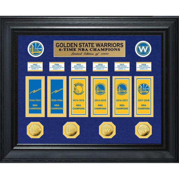 お取り寄せ NBA ウォリアーズ 2018 ファイナル優勝記念 マルチ チャンプス ゴールド コイン & バナー コレクション The Highland Mint