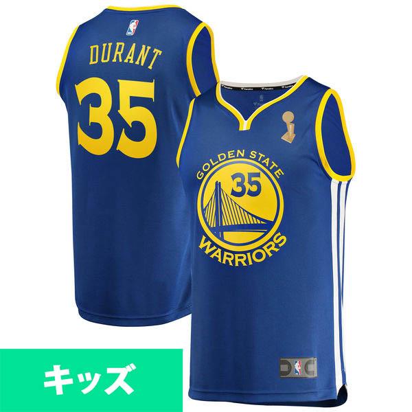 お取り寄せ NBA ウォリアーズ ケビン・デュラント 2018 ファイナル優勝記念 キッズ レプリカ ユニフォーム
