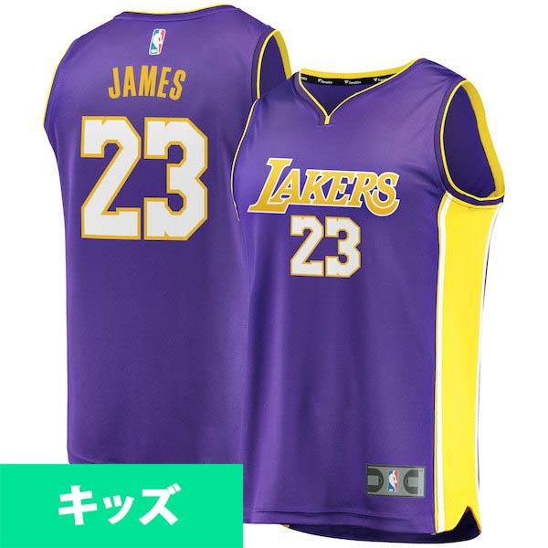 お取り寄せ NBA レイカーズ レブロン・ジェイムス キッズ ユニフォーム/ジャージ ファスト ブレイク レプリカ パープル