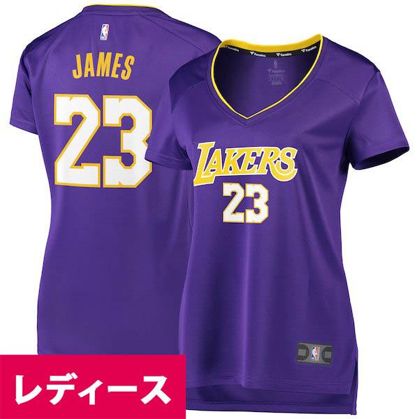 お取り寄せ NBA レイカーズ レブロン・ジェイムス レディース ユニフォーム/ジャージ ファスト ブレイク レプリカ パープル
