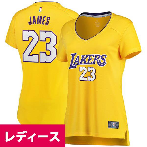 お取り寄せ NBA レイカーズ レブロン・ジェイムス レディース ユニフォーム/ジャージ ファスト ブレイク レプリカ ゴールド