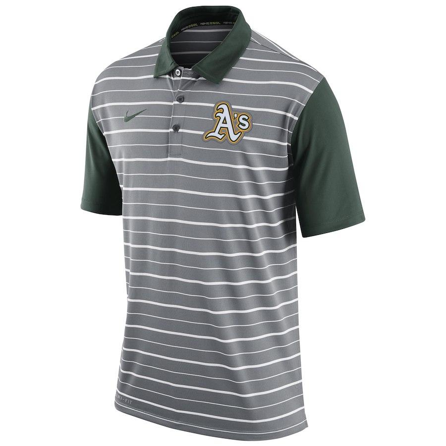 お取り寄せ MLB アスレチックス ポロシャツ 半袖 ストライプ DRI-FIT ナイキ/Nike グレー