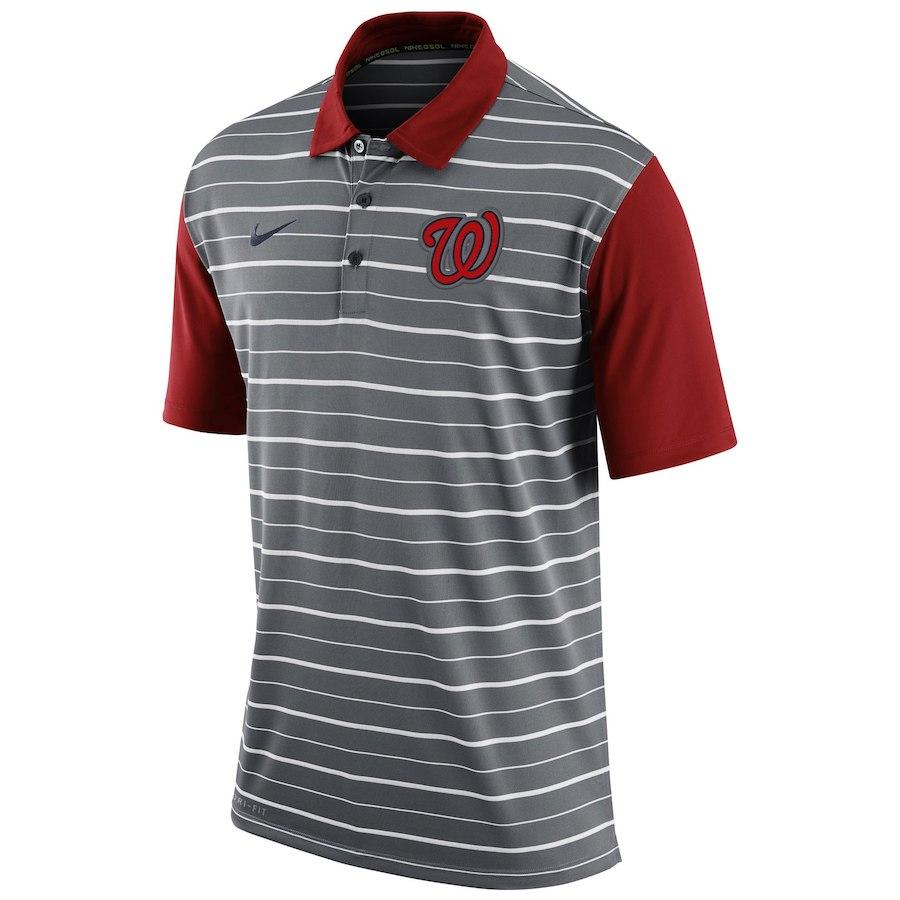 お取り寄せ MLB ナショナルズ ポロシャツ 半袖 ストライプ DRI-FIT ナイキ/Nike グレー