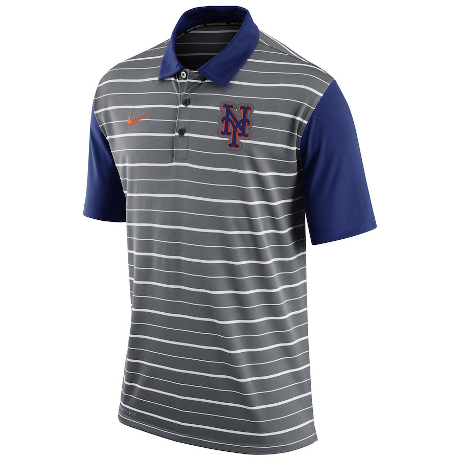 お取り寄せ MLB メッツ ポロシャツ 半袖 ストライプ DRI-FIT ナイキ/Nike グレー