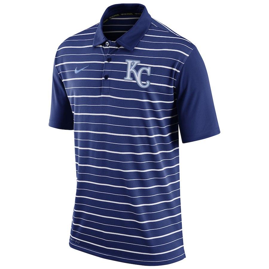 お取り寄せ MLB ロイヤルズ ポロシャツ 半袖 ストライプ DRI-FIT ナイキ/Nike ロイヤル