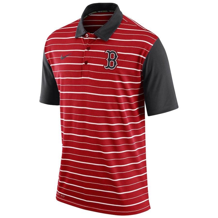 お取り寄せ MLB レッドソックス ポロシャツ 半袖 ストライプ DRI-FIT ナイキ/Nike レッド