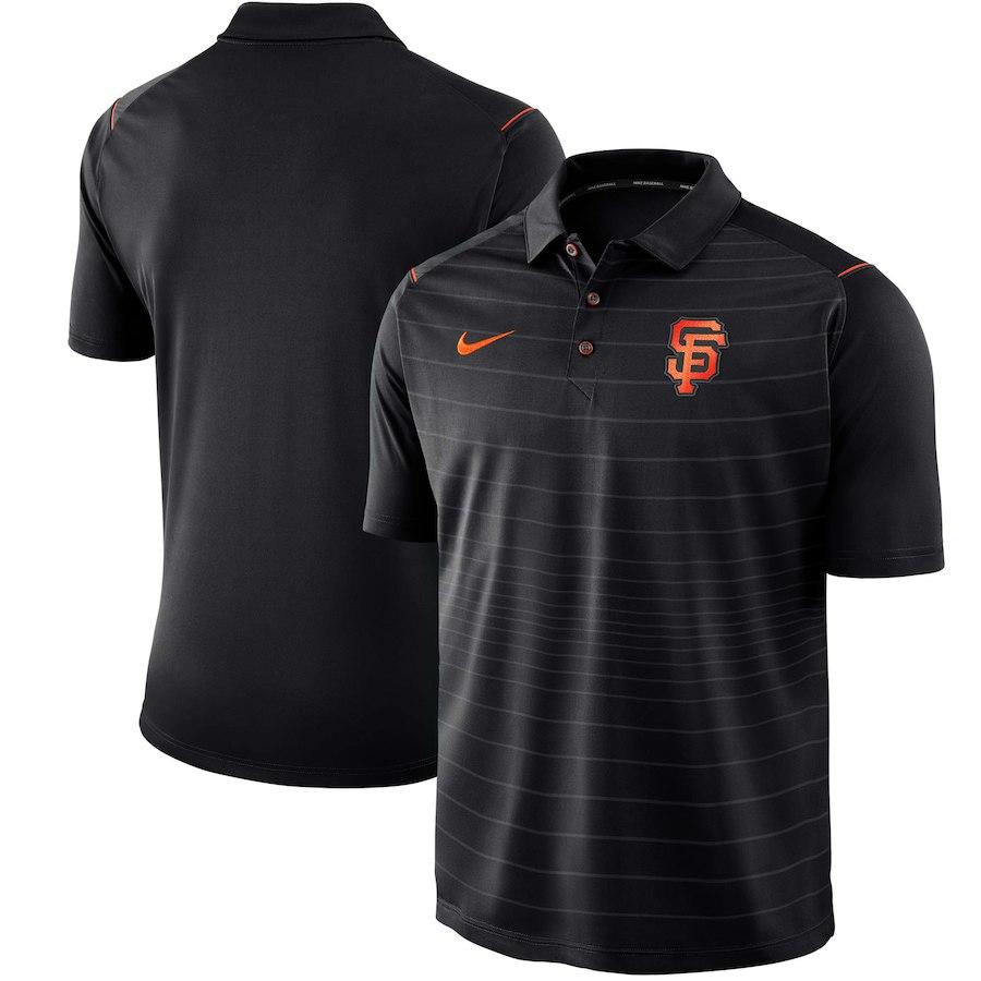 お取り寄せ MLB ジャイアンツ ポロシャツ 半袖 ストライプ ナイキ/Nike ブラック
