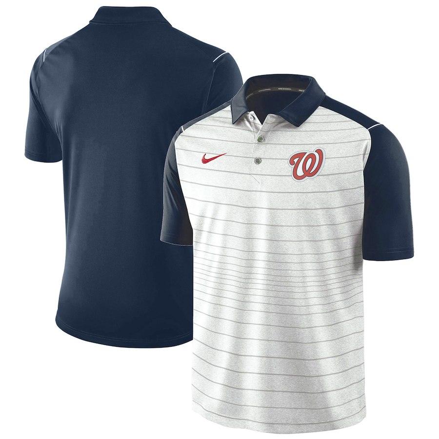 お取り寄せ MLB ナショナルズ ポロシャツ 半袖 ストライプ ナイキ/Nike グレー