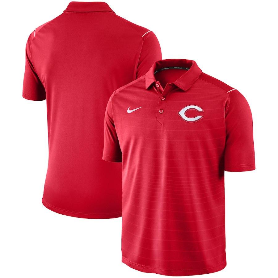 お取り寄せ MLB レッズ ポロシャツ 半袖 ストライプ ナイキ/Nike レッド