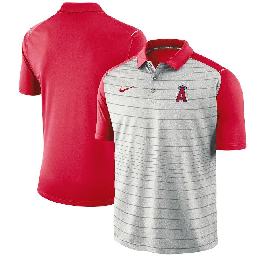 お取り寄せ MLB エンゼルス ポロシャツ 半袖 ストライプ ナイキ/Nike グレー