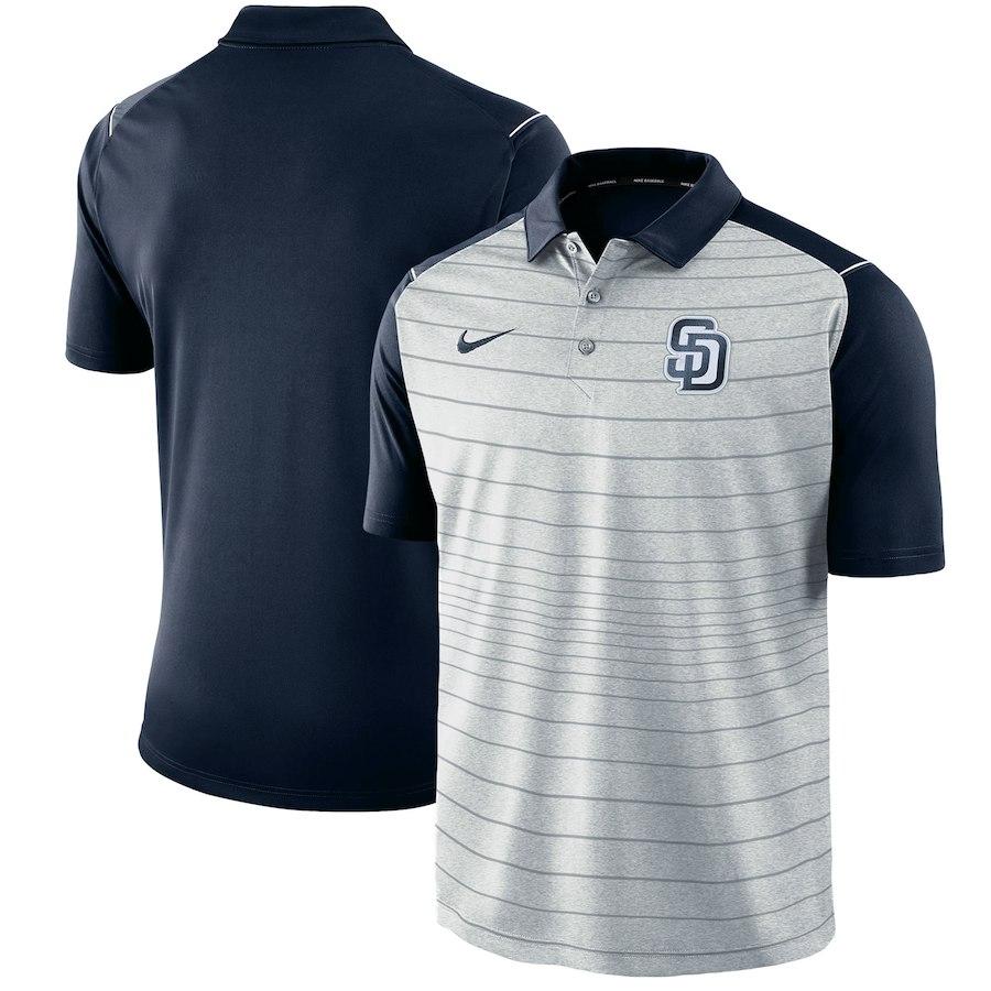 お取り寄せ MLB パドレス ポロシャツ 半袖 ストライプ ナイキ/Nike グレー