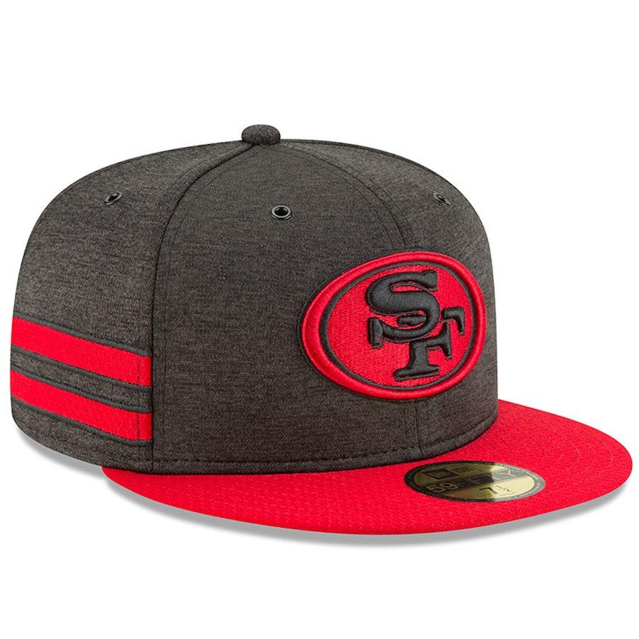 お取り寄せ NFL 49ers キャップ/帽子 59FIFTY 2018 選手着用 サイドライン ホーム ニューエラ/New Era ブラック
