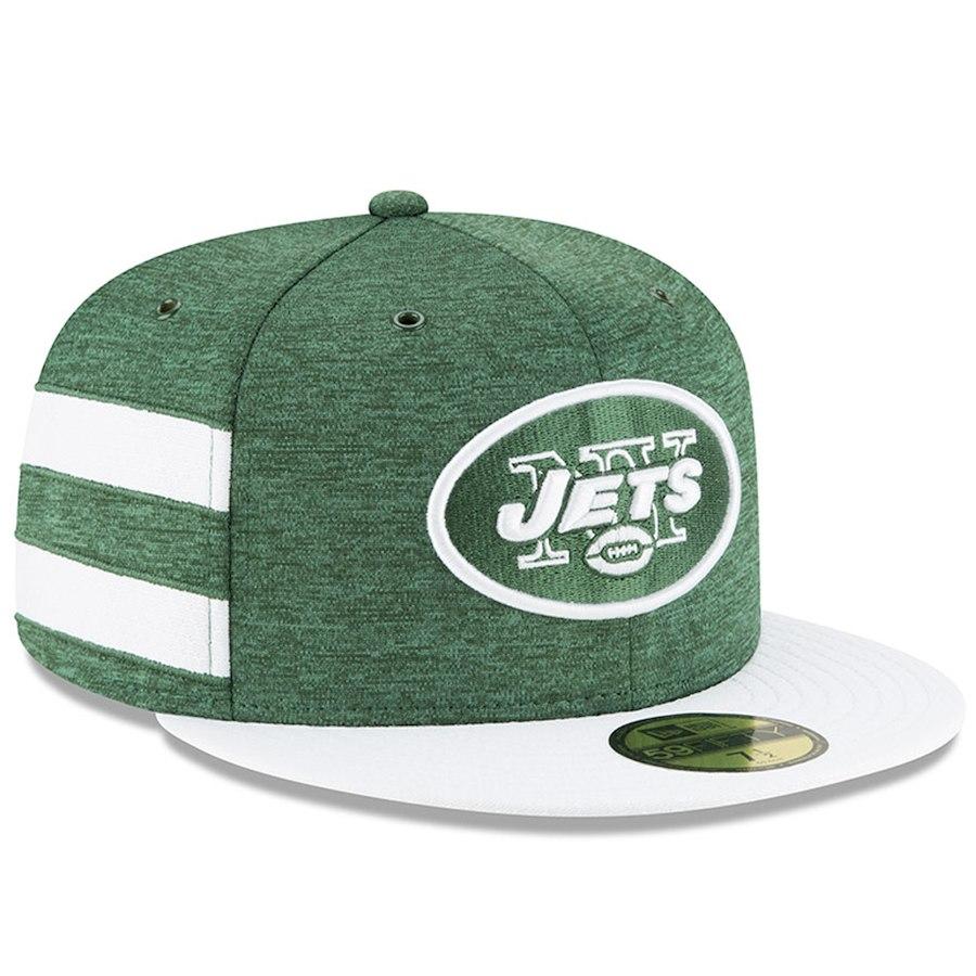 お取り寄せ NFL ジェッツ キャップ/帽子 59FIFTY 2018 選手着用 サイドライン ホーム ニューエラ/New Era グリーン