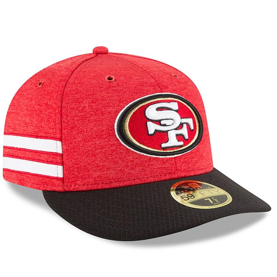 お取り寄せ NFL 49ers キャップ/帽子 59FIFTY ロープロファイル 2018 選手着用 サイドライン ホーム ニューエラ/New Era スカーレット