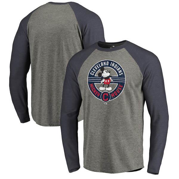 お取り寄せ MLB インディアンス ロングTシャツ ディズニー ミッキーマウス ラグラン