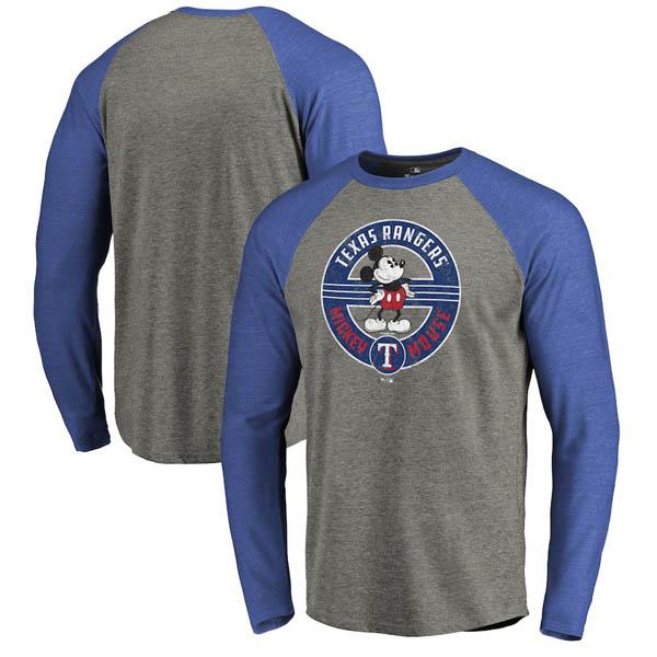 お取り寄せ MLB レンジャーズ ロングTシャツ ディズニー ミッキーマウス ラグラン