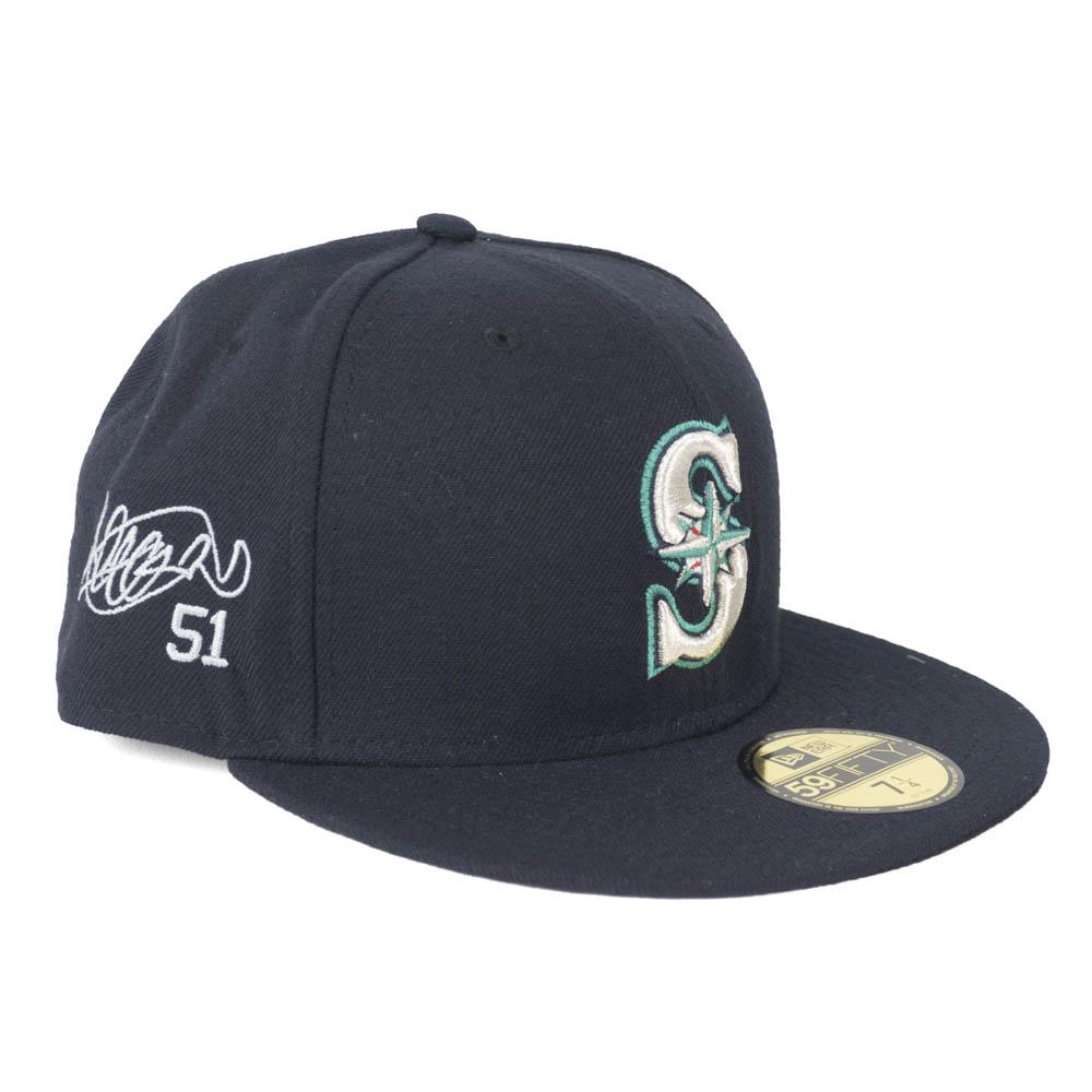 MLB マリナーズ イチロー キャップ/帽子 サイン刺繍入り カスタマイズ オーセンティック ニューエラ/New Era ゲーム