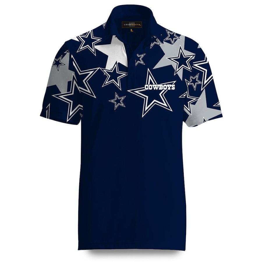 NFL カウボーイズ ポロシャツ ファンシー ローンスター ネイビー