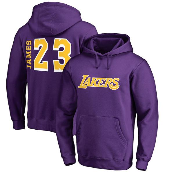 お取り寄せ NBA レイカーズ レブロン・ジェイムス パーカー/フーディー サイドスイープ ネーム&ナンバー パープル