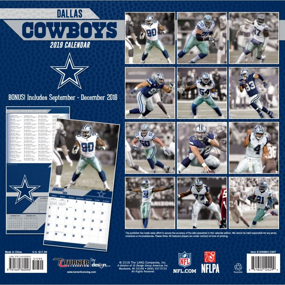 Dallas Cowboys 2019 Calendar MLB NBA NFL Goods Shop: Reservation NFL Cowboys 2,019 teams
