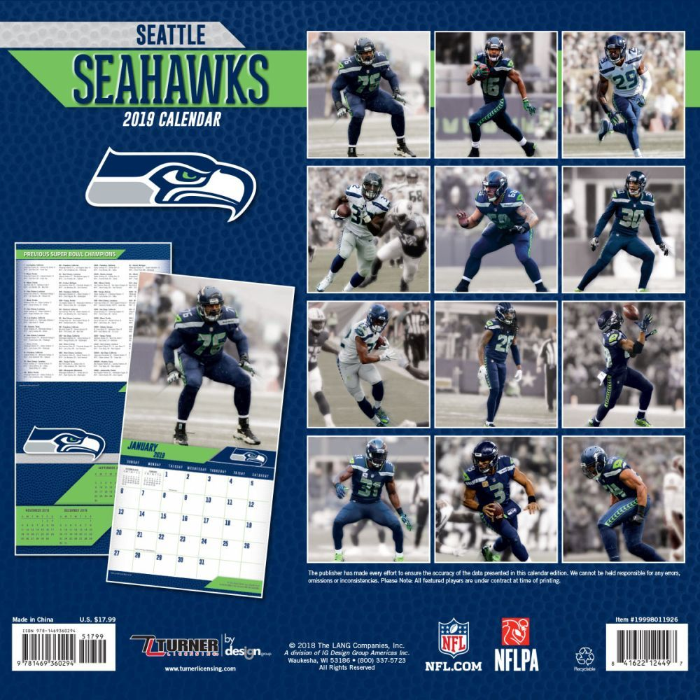Seahawks Calendar 2019 MLB NBA NFL Goods Shop: Reservation NFL Seahawks 2,019 teams